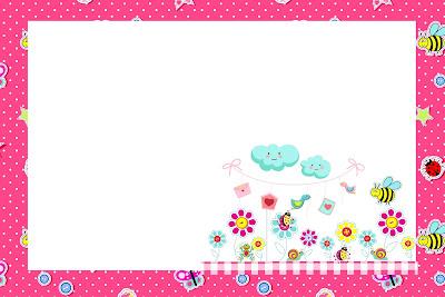 Moldura Convite E Cart  O Jardim Encantado Rosa