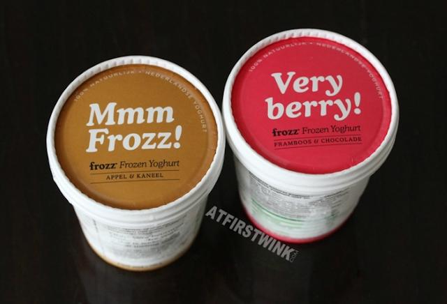 Frozz Frozen Yoghurt 150 ml cups (apple cinnamon) appel & kaneel (raspberry chocolate) framboos & chocolade