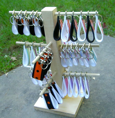 diy wood dowel tree with key fobs