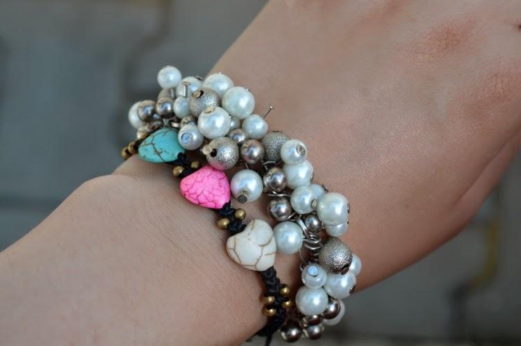 bracelet, Christiania freetown, pearl, bead, white, turquis, pink