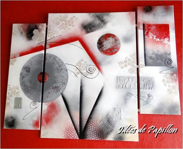 id es de papillon tableau triptyque moderne en rouge noir et gris. Black Bedroom Furniture Sets. Home Design Ideas