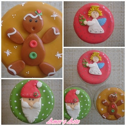 Vidros dedorados para natal, Bolachinha, Anjinho e Papai Noel