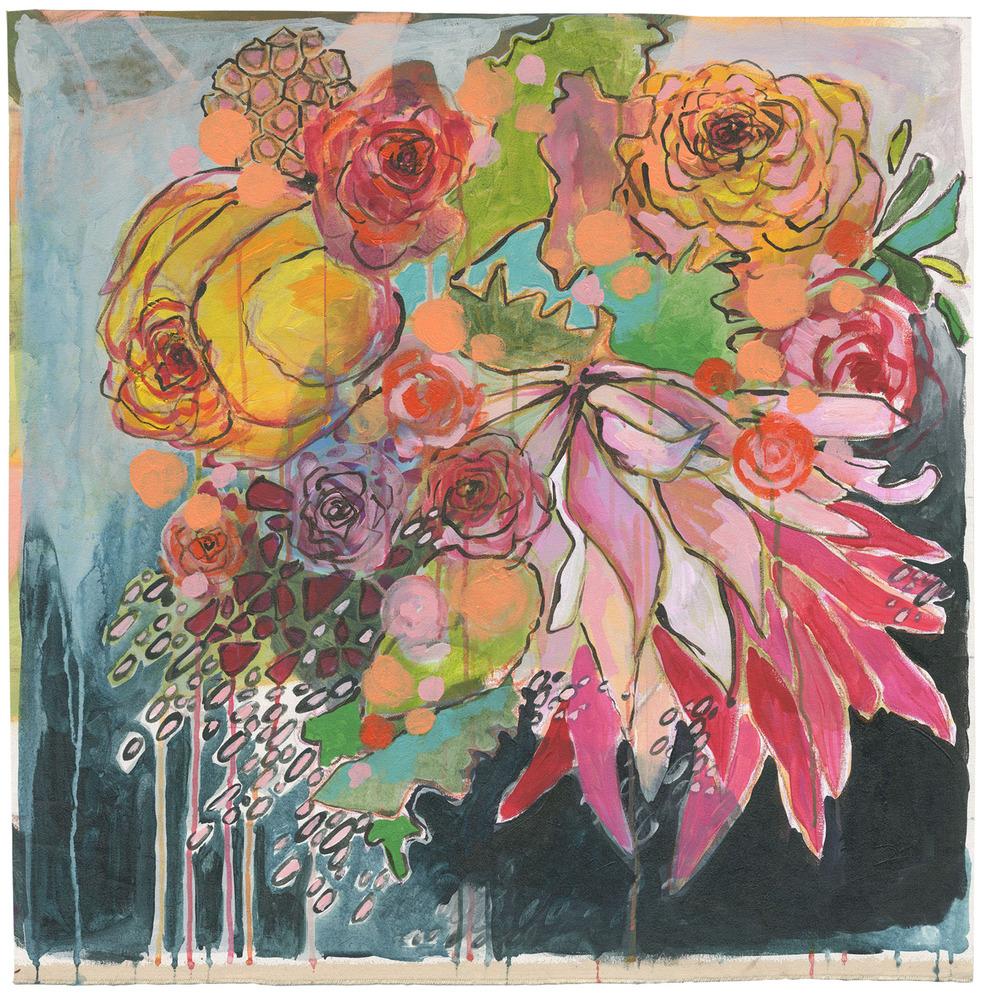 Aesthetic oiseau modern floral art by laurel dawn for Modern flower paintings
