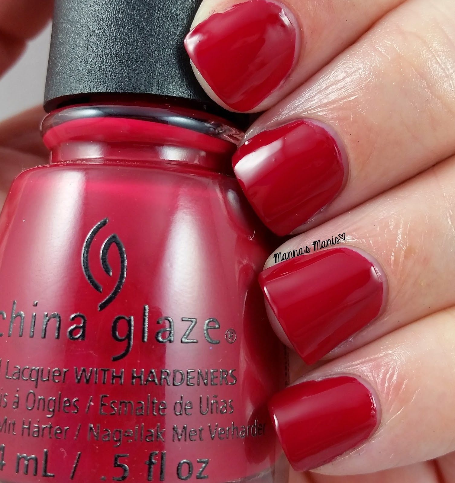 china glaze tip your hat, a red creme nail polish