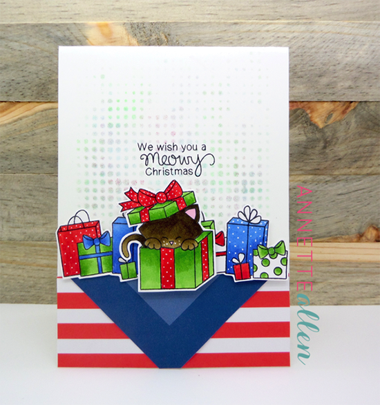 Meowy Christmas Cat Card by Annette Allen | Newton's Christmas Cuddles Stamp set by Newton's Nook Designs #newtonsnook