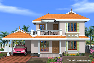 Kerala style home elevation idea for a 4 bedroom 2150 Sq ft house from