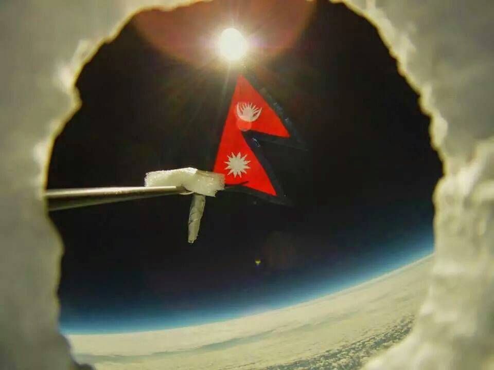 Nepal Flag in Space Nepalese Flag Waved in Space
