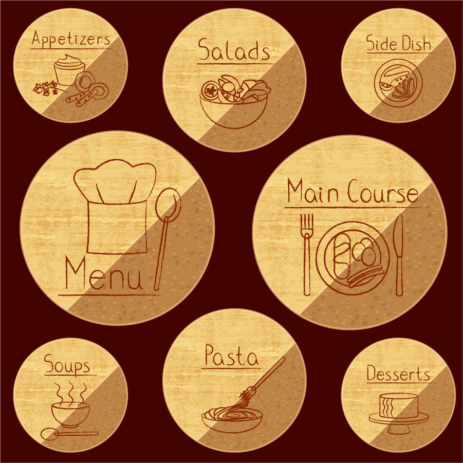手書きの料理ラベル retro handpainted food label イラスト素材
