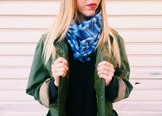 sunbleached scarf, shibori, indigo, fall scarf