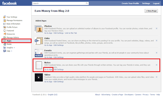 Import Blog Post to Facebook Fan Page using Notes