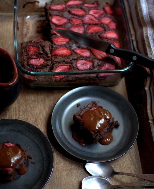 strawberry topped double chocolate brownie with a quick chocolate sauce…