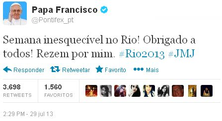 Tweet do Papa Francisco