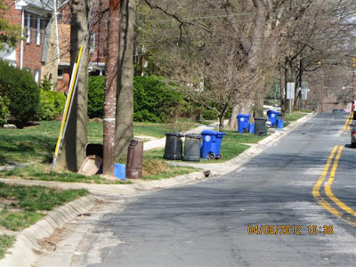 View of street with trash cans and recycling containers on grass right-of-way strip