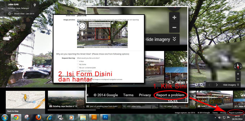 cara padam gambar di streetview