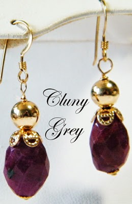 ruby earrings with gold