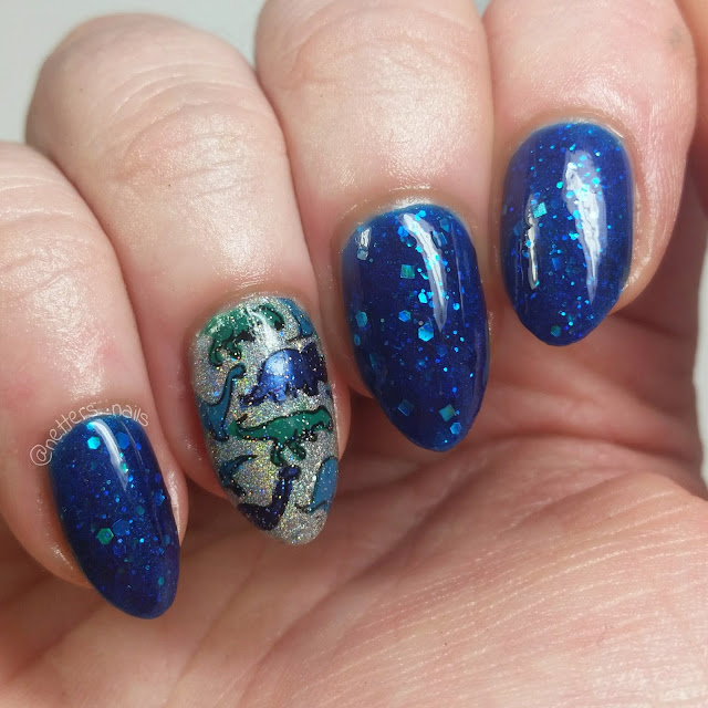 SugarTips Lacquer Fathoms Below Orly Mirrorball dinosaur nails
