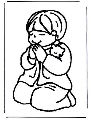 Niña rezando para colorear ~ 4 Dibujo