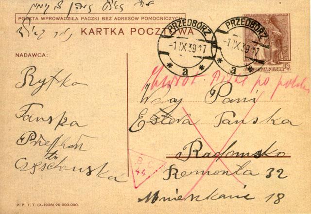 """Kartka pocztowa nadana 1.09.1939 r. z Przedborza do Radomska, ocenzurowana w Końskich stemplem BC 44 (typ 1a) Adnotacja cenzora - """"Zwrot, pisać po polsku"""". Z kolekcji Stefana Petriuka."""