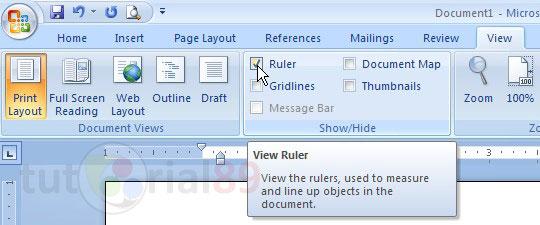 Cara menampilkan penggaris pada Microsoft word