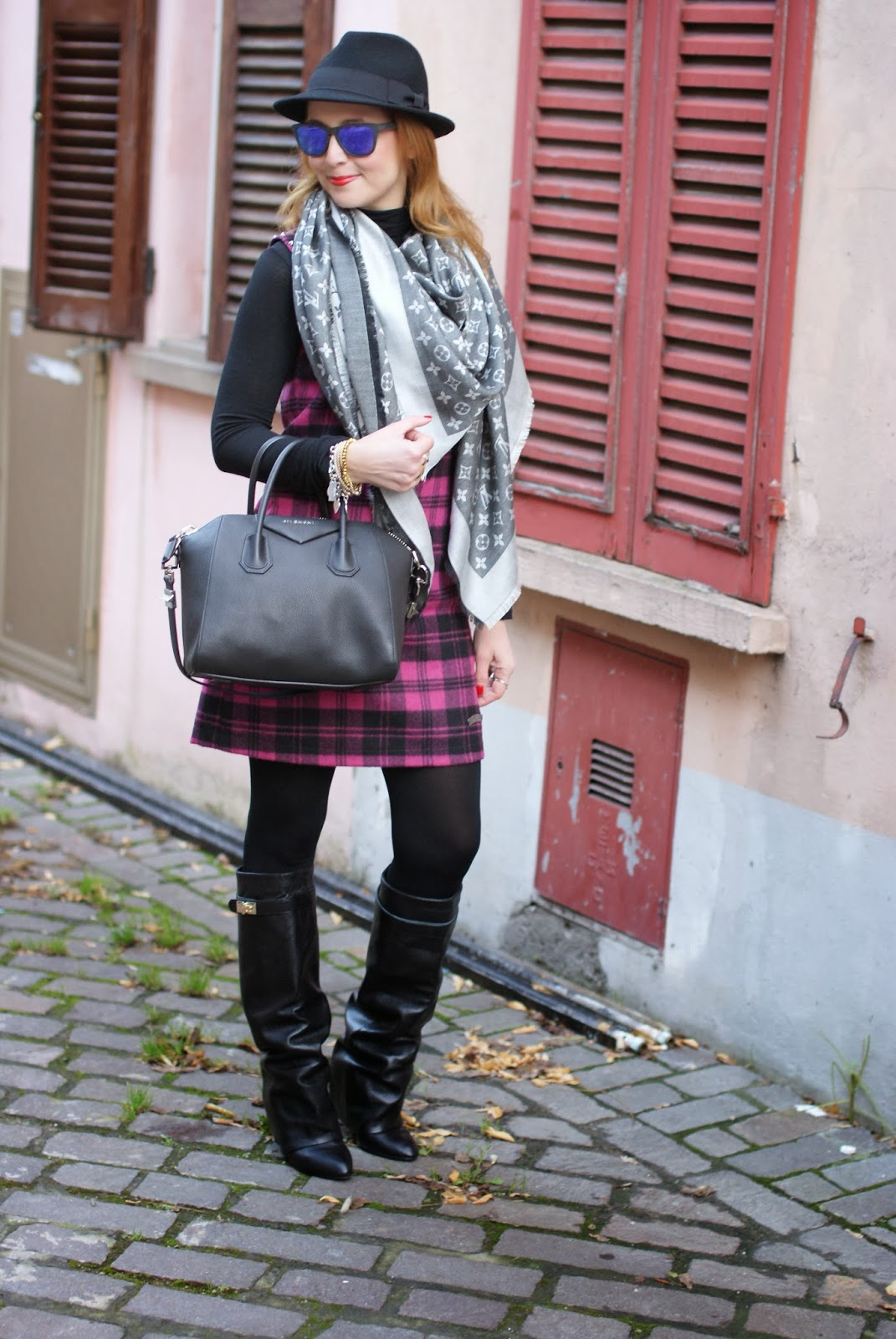 blugirl folies check dress, tartan dress, louis vuitton scarf, givenchy lookalike boots, Fashion and Cookies, fashion blogger