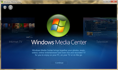 Screenshot of Welcome screen of Windows media center: Intelligent Computing