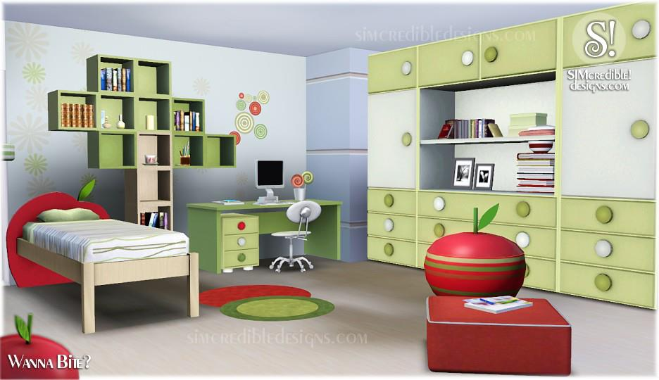 My sims 3 blog wanna bite bedroom set by simcredible designs for Sims 3 bedroom designs