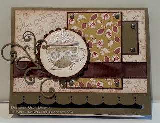 Handmade card using Like It a Latte stamp and SEI Dill Blossom paper