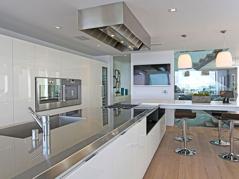 Kitchen in Sharp modern home on Sunset Strip