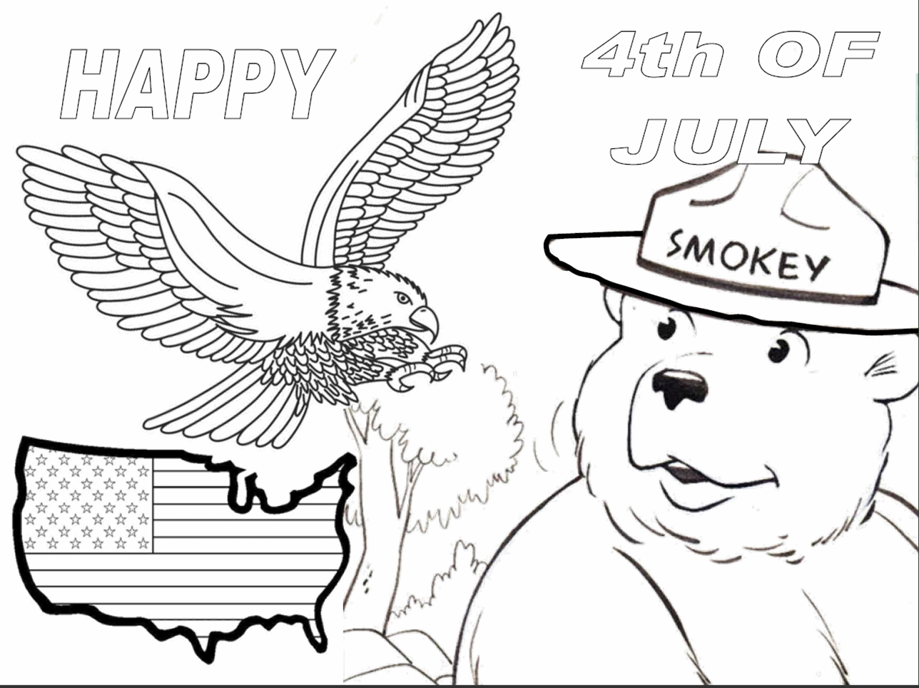 Virginia wildfire information and prevention have a safe for Smokey the bear coloring pages