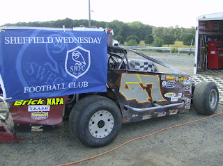 Brian USA Owl's Race car with SWFC flag