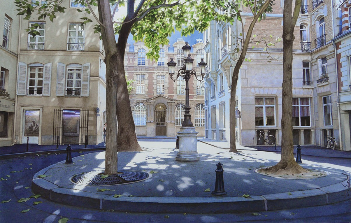 17-La-place-de-Furstenberg-Thierry-Duval-Snippets-of Real-Life-in Watercolor-Paintings-www-designstack-co
