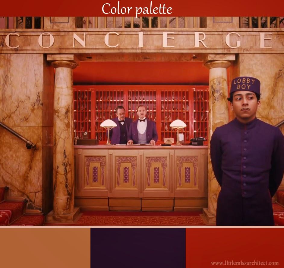 Grand Budapest Hotel, color palette, set design