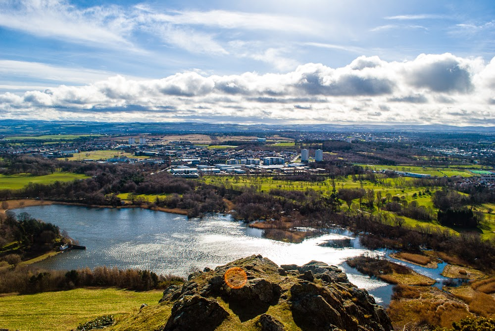 Aerial view whilst climbing arthur's seat edinburgh