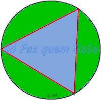 Dividindo uma circunferência em três partes iguais, achamos os três vértices do triângulo equilátero inscrito nessa circunferência