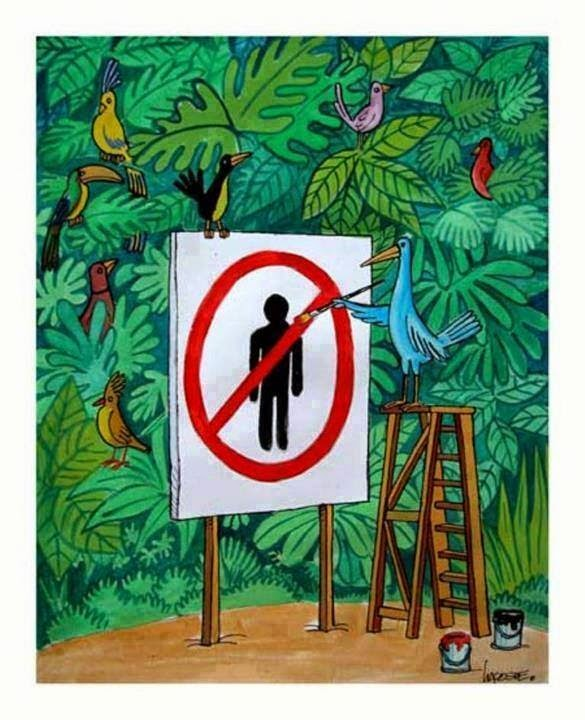 No human. birds, painting sign.