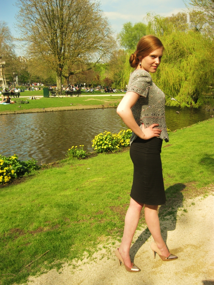 Fashion blogger outfit sarphatipark vintage bead top hippe schoenen