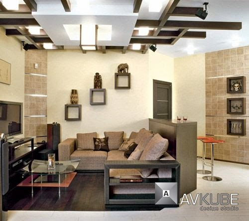 Living Room False Ceiling Designs Made Of Gypsum And Wood Ceiling Panels