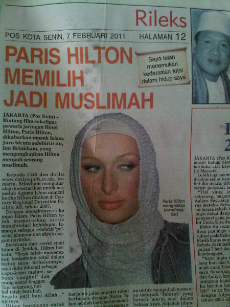 hiltons muslim Better to nip this rumor now before it spreads even further already i received a few emails stating that paris hilton has embraced islam and plans on.