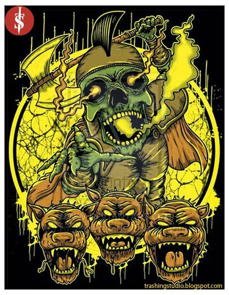 Design Deathcore kepala tiga anjing dan prajurit setan