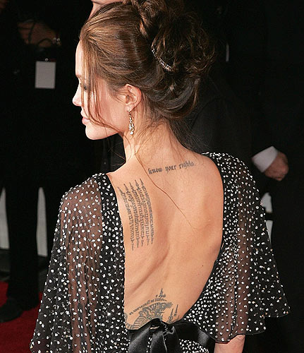 angelina jolie tattoos in wanted. angelina jolie wanted hand