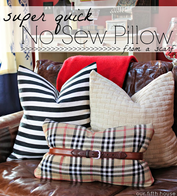 No Sew Scarf Pillow