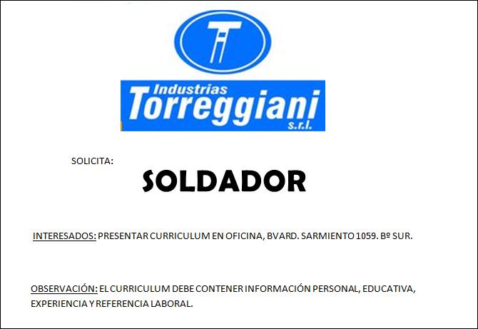 ESPACIO PUBLICITARIO: INDUSTRIAS TORREGGIANI S.R.L.