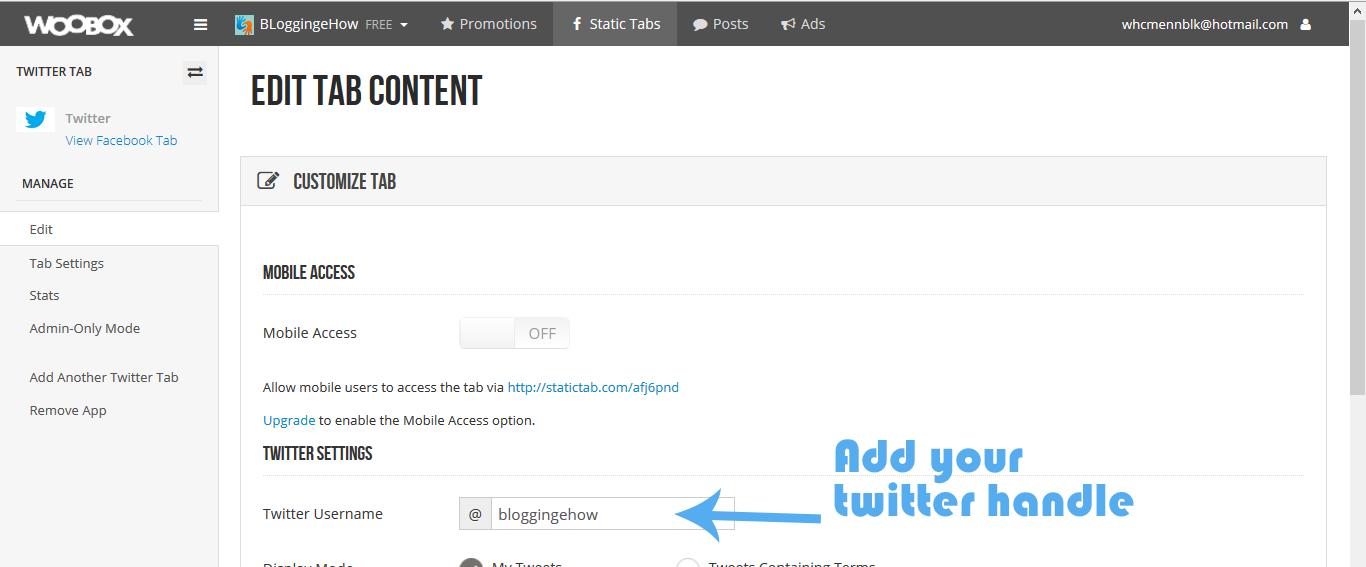 add twitter handle woobox