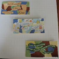 three of my finished scrapbook paper tear art bookmarks
