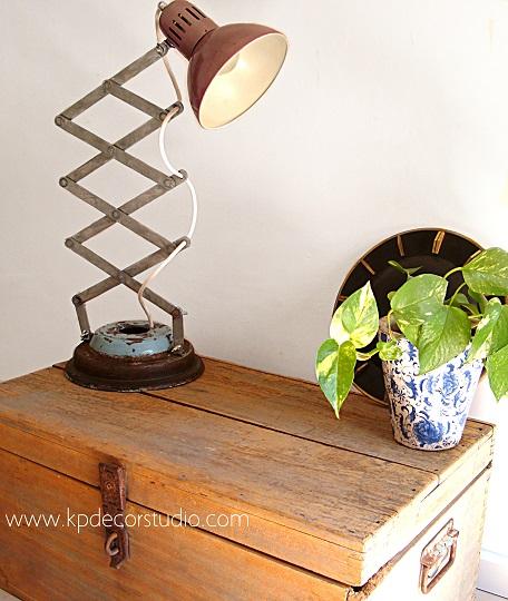 Kp tienda vintage online l mpara de mesa artesanal for Como hacer una mesa estilo industrial