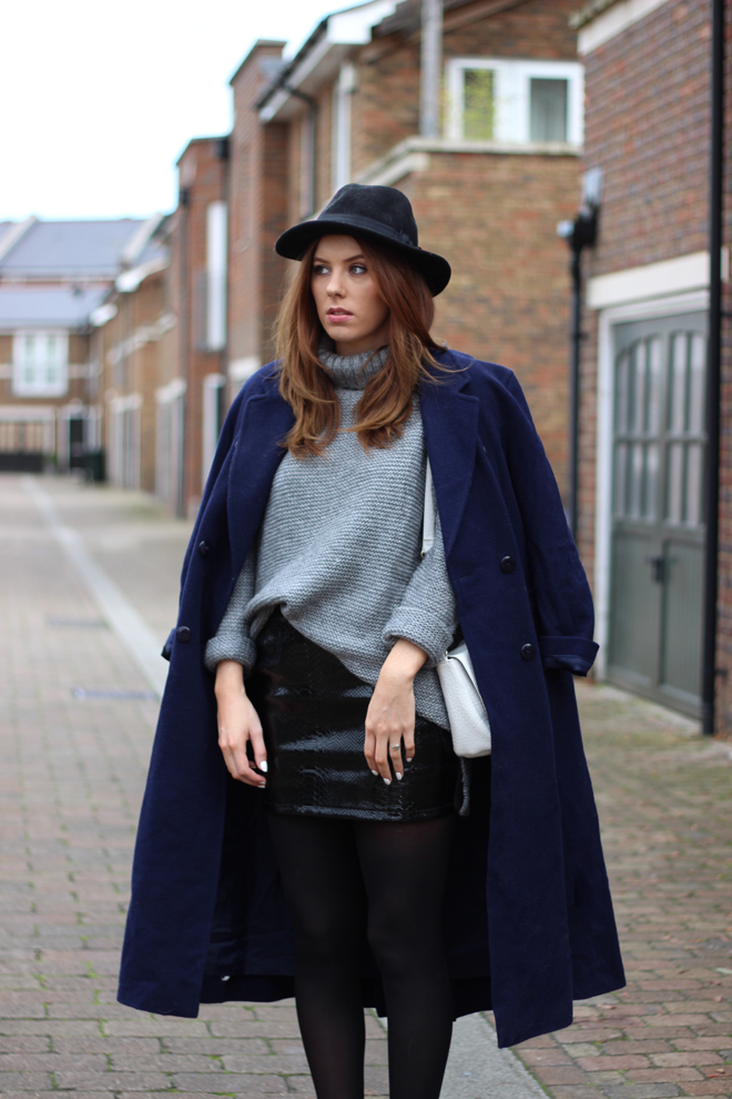 Zara Roll Neck & Navy Maxi Coat ft Missguided Skirt