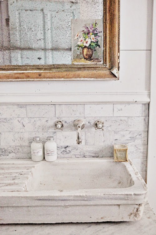 French Stone Sink : The sink is an antique French stone sink.