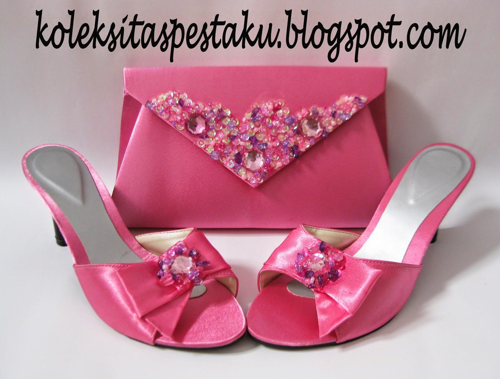 Pink Cantik Sandal sepatu Pesta dan Tas Pesta Clutch Bag