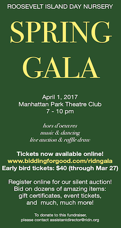 ROOSEVELT ISLAND DAY NURSERY SPRING GALA APRIL 1