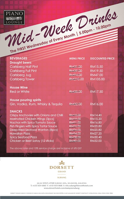 Dorsett Grand Subang Piano Lounge for Mid-Week Drinks every first Wednesday on every month(food and beverage) promotion